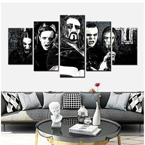 ASLKUYT Poster druckt Powerwolf Band Star Wandkunst Gemälde 5 Stück Leinwand Kunst Wandbilder für Wohnzimmer Home Decor Modulare Bilder-40x60 40x80 40x100cm ohne Rahmen