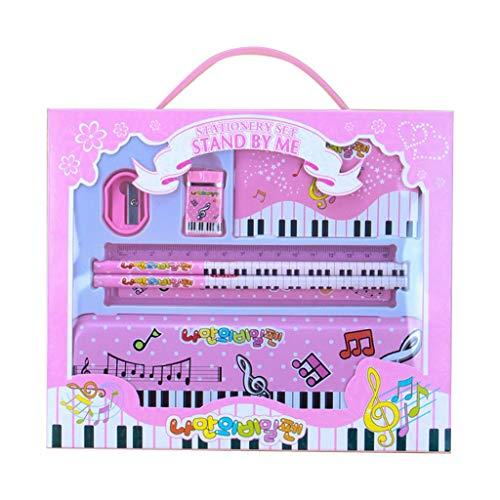 Haptian Music Piano Note Pencil Ruler Earser Sharpener 7-in-1 schrijfgerei set voor jongens