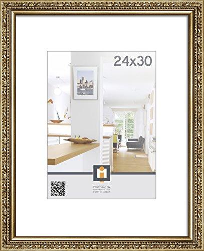 Intertrading Fotorahmen Torino Bilderrahmen für Bildgröße 24 x 30 cm im Barock Stil in Gold Antik aus Holz