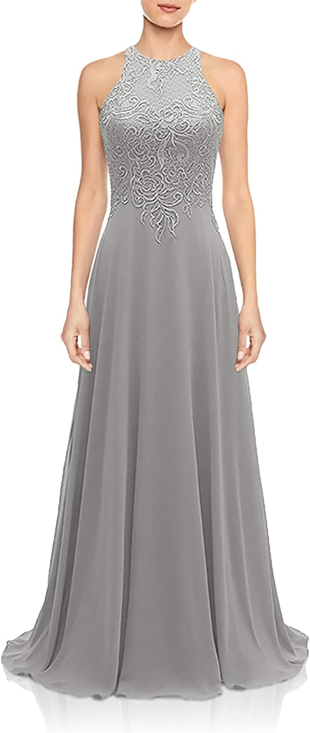 Halter Lace Bridesmaid Dresses Long for Wedding Chiffon A Line Formal Prom Dress Light Grey Size 20