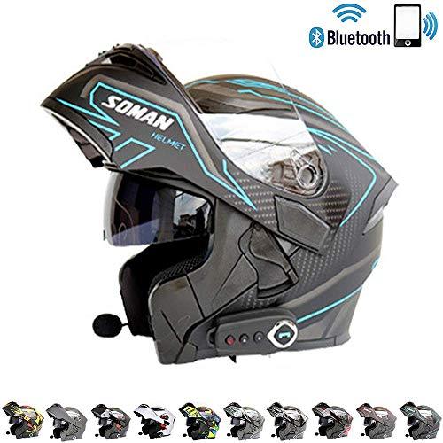C-TK Bluetooth Integrado Modular Casco de la Motocicleta ECE 22.05 certificación Dot Seguridad estándar-Cara Completa Racing Casco de la Motocicleta General,1,M(57~58) CM