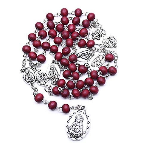 S-TROUBLE Collar de Rosario católico Virgen María Collares con Colgante de Cuentas de Cadena Larga Hombres Mujeres joyería de Moda Cristiana Regalo
