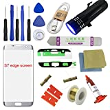 For Samsung Galaxy S7 Edge Screen Replacement, Sunmall Front Outer lens Glass Screen Replacement Repair Kit LCD Glass Repair Kit For Samsung Galaxy S7 Edge G9350 G935T G935A G935V G935R4 G935P(Silver)