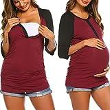 Ekouaer Women Nursing Tops 3/4 Baseball Raglan Sleeve Maternity Henley T-Shirt Breastfeeding (Wine Red XL)