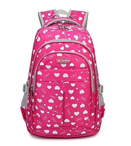 Fanci Teenager Girls Love Heart Print Backpack School Student Laptop Book Bag