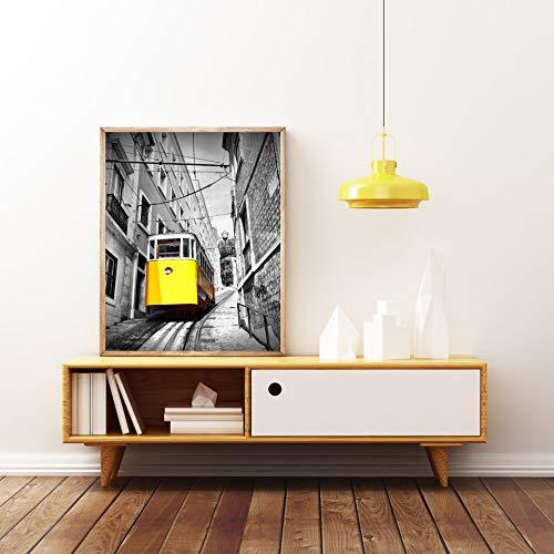 wojinbao Kein Rahmen Moderne Klassische Landschaft Schwarz Weiß Gelb Bus Poster Stadt Landschaft Drucke Bike Britischen Leinwand Wandbilder Für Wohnzimmer 50x70 cm