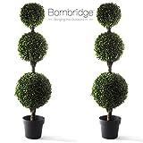 Bornbridge Artificial Boxwood Topiary Ball Tree - 4' Boxwood Ball Tree - Indoor/Outdoor Topiary Trees - Boxwood Artificial Outdoor Plants - Lifelike Buxus Boxwood Plant (2 Pack)