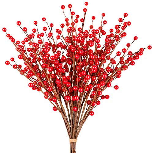 Whaline 12 Pack Christmas Red Berry Twig Stem, Artificial Burgundy Berry Picks for Christmas Tree Decorations, Crafts, Wedding, Holiday Home Decor