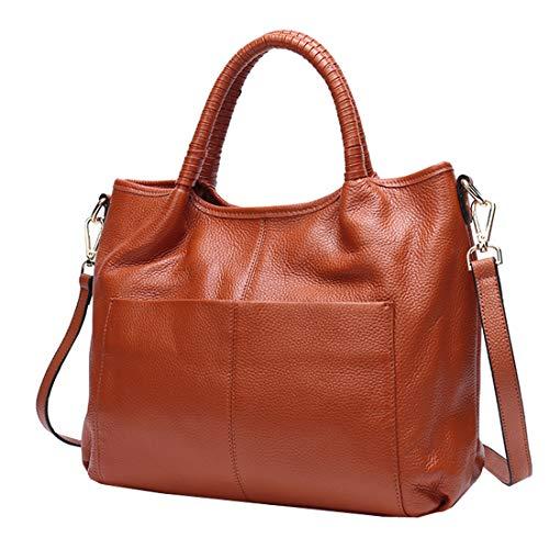 Heshe Womens Leather Handbag Shoulder Bags Work Tote Bag Top Handle Bag Ladies Designer Purses (Brown)