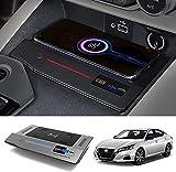 QXIAO Cargador de Coche Inalámbrico Rápido de 15 W para Nissan Altima 2019 2020 2021 2022 Carga Rápida con Puerto USB de 36 W Almohadilla de Cargador de Teléfono Inalámbrico Qi