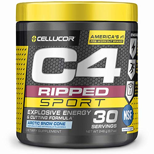 C4 Ripped Sport Pre Workout Powder Arctic Snow Cone - NSF Certified for Sport + Sugar Free Preworkout Energy Supplement for Men & Women - 135mg Caffeine - 30 Servings