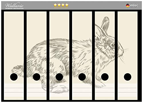 Wallario Ordnerrücken Sticker Hase als illustrierte Bleistiftzeichnung in Premiumqualität - Größe 36 x 30 cm, passend für 6 breite Ordnerrücken