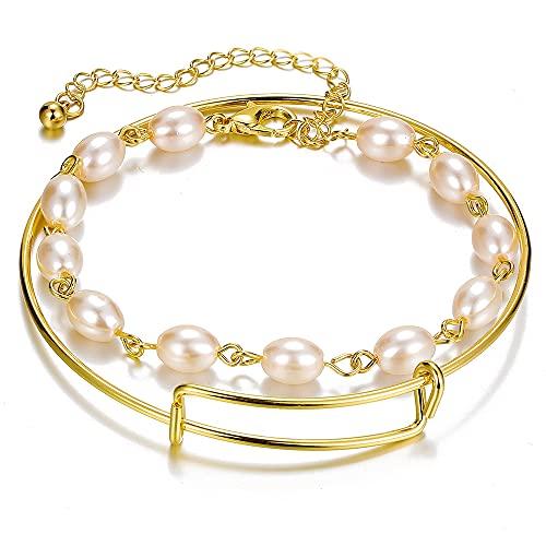 DUOYO 2 unids / set de pulseras de perlas para mujeres y niñas, pulsera de cadena de metal hueca con encanto, conjunto de pulsera ajustable