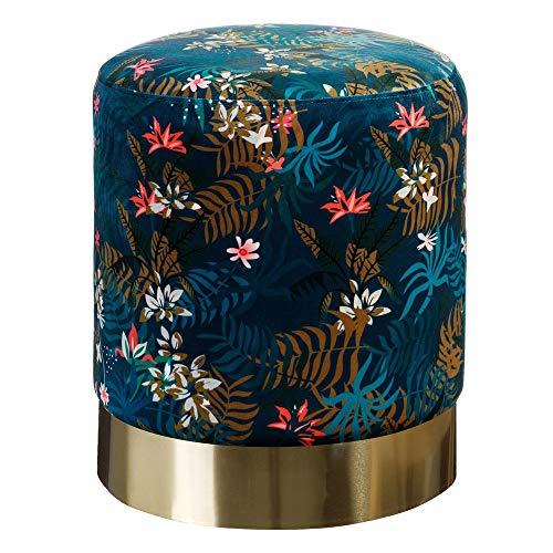 Puff de Flores Azul Vintage de Terciopelo tapizado ø 35 cm - LOLAhome