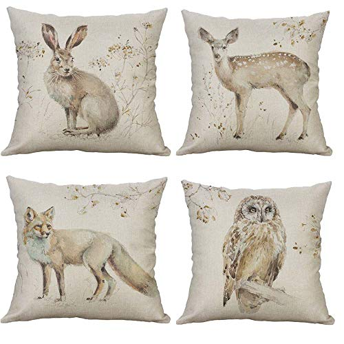SLS Watercolor Forest Animal Wolf owl Rabbit Deer Cotton Linen Decorative Throw Pillow Case Cushion Cover Lion Piillow case 18'X18 Fox (Set of 4)