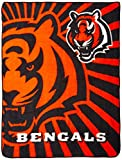 Officially Licensed NFL Cincinnati Bengals 'Strobe' Sherpa on Sherpa Throw Blanket, 50' x 60', Multi Color