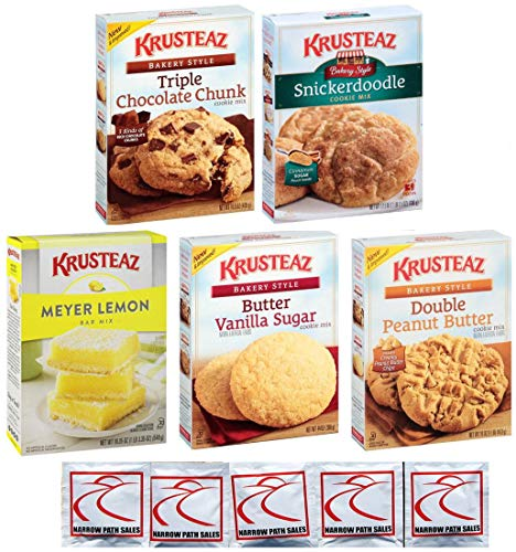 KRUSTEAZ Cookie Mix Variety Pack - Bundle of 5 Different Flavors - Triple Chocolate, Snickerdoodle, Peanut Butter, Butter Vanilla, Meyer Lemon. Gift Set