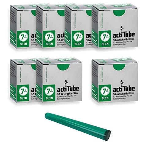 actiTube Kogu Set Slim Aktivkohlefilter, 7,1 mm, 350 Stück, 7 Packungen mit je 50 Filtertips - inkl. J-Hülle