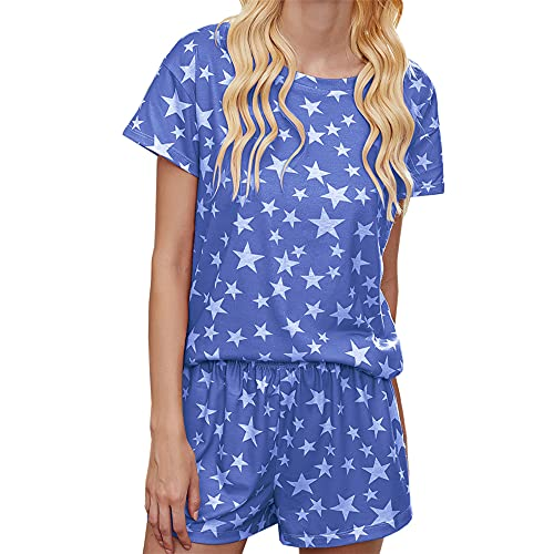 PRJN Conjunto de Pijamas de Ropa Informal con Estampado Tie Dye para Mujer Pijamas de Manga Corta Pijamas Informales de Cuello Redondo Pijamas de Verano con Estampado Tie Dye para Mujer Conjunto