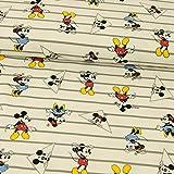 Baumwolljersey Lizenzstoff Mickey Mouse Streifen grau weiß