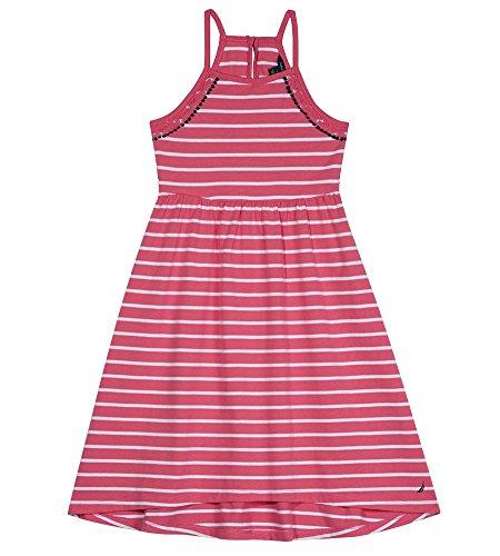 Nautica Girls' Toddler Spaghetti Strap Fashion Dress, lace Stripe Dark Pink, 4T