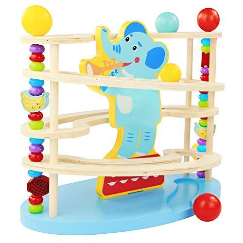 Nuheby Kugelbahn Baby 3 4 5 Jahr Holz Murmelbahn Rollbahn aus Holz mit 3 Holzkugel Elefant Spielzeug Motorikspielzeug für Mädchen Junge Kinder