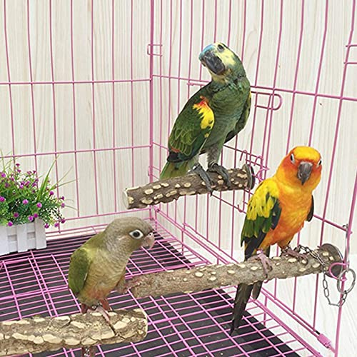 Gidenfly Bird Perch Stand Parrot Perches, Natural Wood Cage Perch Platform Stand, Suitable For Small Birds Parrots Parakeets Cockatiels Conures Cages Accessories 5 PCS