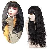 Pelucas Negro para Mujer, FiveFour Pelucas Sintéticas con Flequillo, Peluca Larga Rizada Natural con Casquillo para Mujer Chica Cosplay, 70 cm