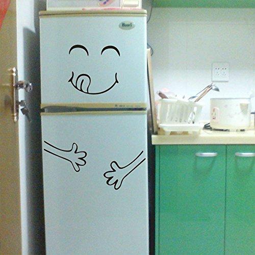 Zhen + Niedlich Smiley-Gesicht Wandaufkleber Kühlschrank Aufkleber,Hauptdekor Kunst Wandbild Decor Entfernbare Wandtattoos Sticker Wanddeko (Schwarz) (A)