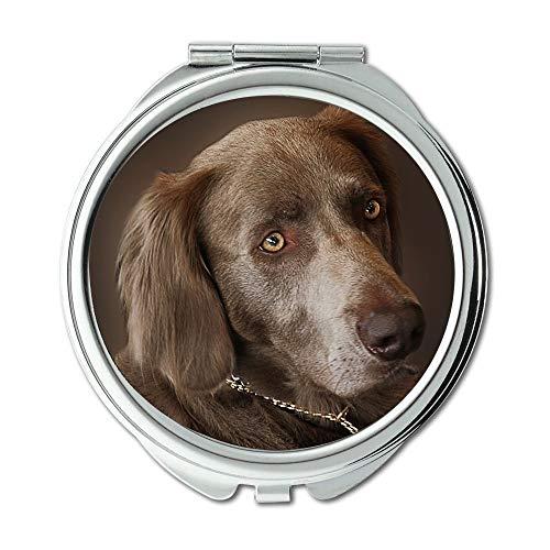 Yanteng Spiegel, Compact Spiegel, Weimaraner Hund Jagdhund Tierporträt Haustier, Taschenspiegel, Tragbare Spiegel
