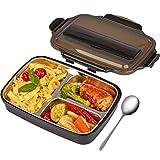 HEEKER® Exklusive Lunchbox für kinder & erwachsene - praktische edelstahl brotdose mit 3 fächern - bento box ideal für die arbeit, schule oder kindergarten - brotbox schwarz
