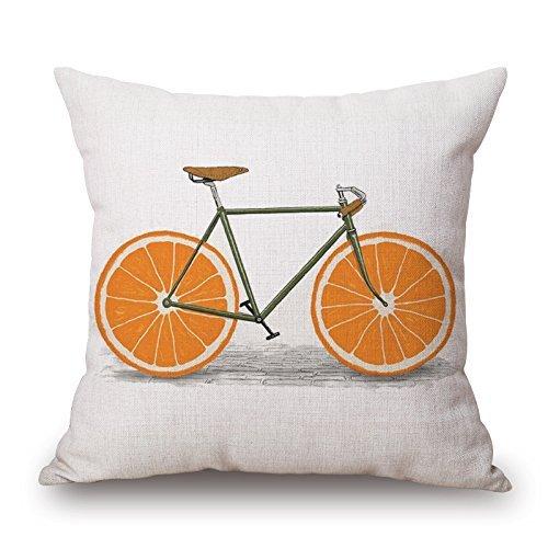 Harry wang Linen Cotton Office Chair Seat Pillow Cushion Cover Pillowsham Pillowslip for Sofa Couch Throw Pillow Case Lemon Orange and Bike -Pattern,45x45cm