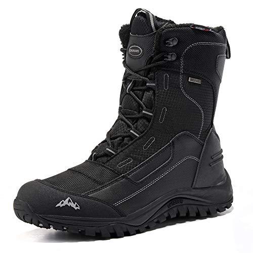 ROCKMARK Men's Winter Snow Boots Outdoor Warm Mid Calf Waterproof Durable Boot Non-Slip Warm Climbing Shoes (Black, 12)