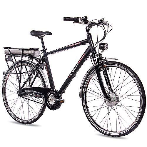 CHRISSON 28 Zoll E-Bike Trekking und City Bike für Herren - E-Gent schwarz mit 7 Gang Shimano Nexus Nabenschaltung - Pedelec Herren mit Bafang Vorderradmotor 250W, 36V*
