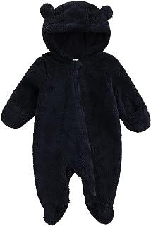 طفلة بوي أفخم طويل الأكمام سستة بذلة الأزياء بلون جولة الرقبة مقنعين قدم رومبير (Color : Black, Size : 3M)