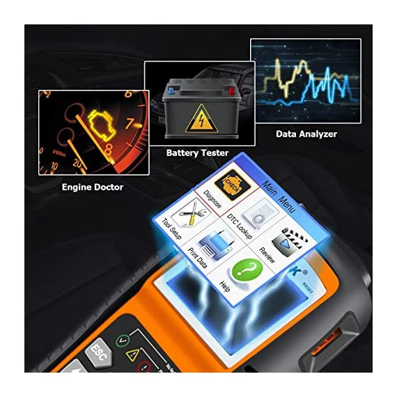 NEXPEAK OBD2 Scanner NX501 Enhanced OBD II Auto Code Reader Car Diagnostic Scan Tool Vehicle Check Engine Light Analyzer… 2 【Professional Vehicle Code Reader】 NEXPEAK NX501 is an enhanced auto scanner that you can NOT ONLY check all engine related fault codes, find out what caused the check engine light comes on, turn-off Malfunction Indicator Lamp (MIL), locate bad O2 sensor, but also can monitor car battery health status, remind you when the battery need to be replaced. It's a perfect scan tool helps you to determine if your car need to be repaired and avoid blind maintenance, saves your time and money. 【Wide Array of Compatibility】 Accurately read and erase error codes on all OBD2 protocol vehicles with a 16 PIN interface (KWP2000, ISO9141, J1850 VPW, J1850 PWM and CAN). The NEXPEAK NX501 is compatible with most US vehicles that are model year 1996 or later – including sedans, SUVs, light trucks, and 12V diesels. This is a plug-and-play engine diagnostic code reader (both generic and manufacturer specific codes) – no extra batteries or apps required. 【NOT ONLY Full OBD2 Function】 All 10 modes OBD2 diagnostic function including: read and erase fault codes, retrieve I/M readiness and freeze frame data. Unique graphical forms to display live sensor data, Auto VIN acquisition, O2 Sensor and EVAP Test (Mode 8), Advanced On-board Monitoring (Mode 6). This auto analyzer can not only reveal what error codes your car is producing, but also monitor the battery voltage at all time during OBD car diagnostic, reminds you when having an aging battery