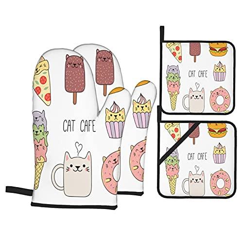 Juego de 4 manoplas para horno y soportes para ollas,café dibujado a mano con ilustración de comida,pizza,helado,cupcake,dulzura,guantes de poliéster para barbacoa con forro acolchado,