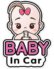 2 Pegatinas Señales y Calcomanías de Baby in Car, Pegatinas de Coche Bebé, Adhesivo de Seguridad Extraíble Tablón de Anuncios, Pegatina de Coche Lindo de Ventana de Bebé, Pegatinas a Bordo