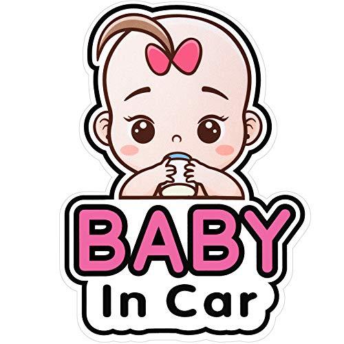 2 Stück Baby in Auto Aufkleber Zeichen und Aufkleber für Mädchen, Baby Auto Aufkleber, Abnehmbare Sicherheit Aufkleber Anschlagtafel, Niedlichen Baby Fenster Auto Aufkleber, an Bord Aufkleber