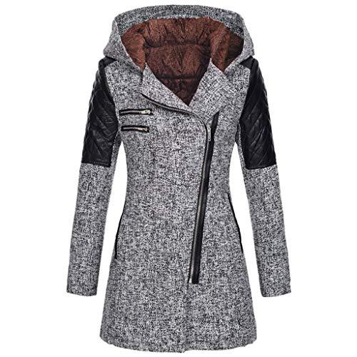 iHENGH Damen warme dünne Jacke dicken Mantel Winter Outwear mit Kapuze reißverschluss Mantel(Grau, XL)
