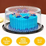 10-11' Plastic Disposable Cake Containers Carriers with Dome Lids and Cake Boards | 5 Round Cake Carriers for Transport | Clear Bundt Cake Boxes Cover | 2-3 Layer Cake Holder Display Containers