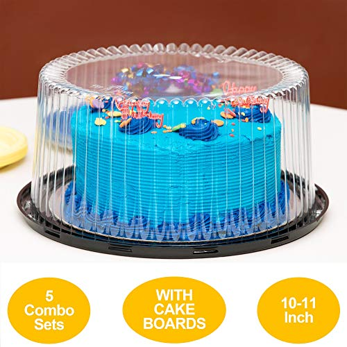 10-11' Plastic Disposable Cake Containers Carriers with Dome Lids and...