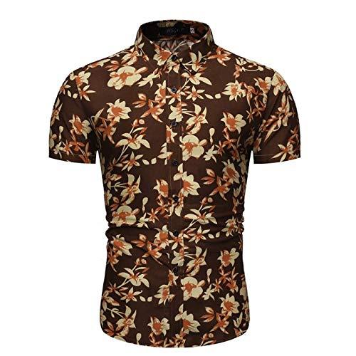 Camisas de Manga Corta para Hombre con Estampado Personalizado, Estilo Hawaiano, Moda Festiva, Informal, Ajustado, con Botones, Camisas Large
