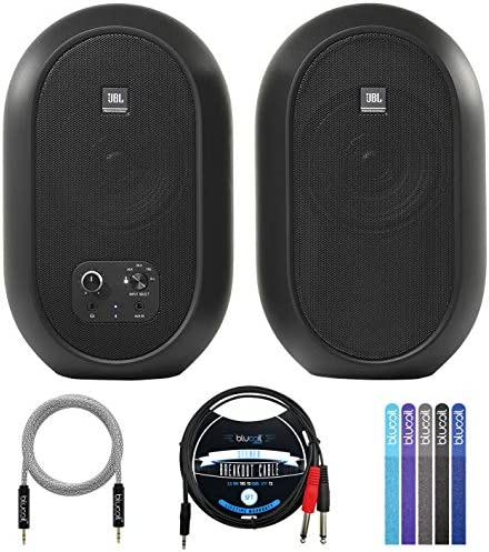 JBL 1 Series 104 BT Compact Desktop Reference Monitors with Bluetooth Pair Bundle with Blucoil product image