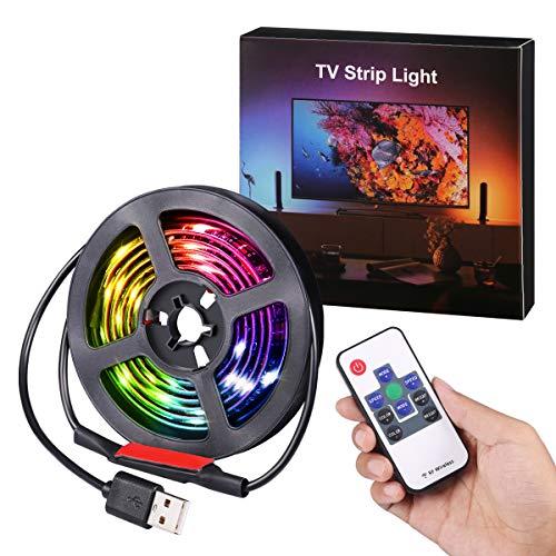 Criacr Tiras LED RGB, 1M 30 Leds Tira de Luz, 19 Modos, 20 Colores, Control Remoto Versátil, Retroiluminación LED de TV USB a Prueba de Agua IP65 para Escritorio, PC, Fiesta
