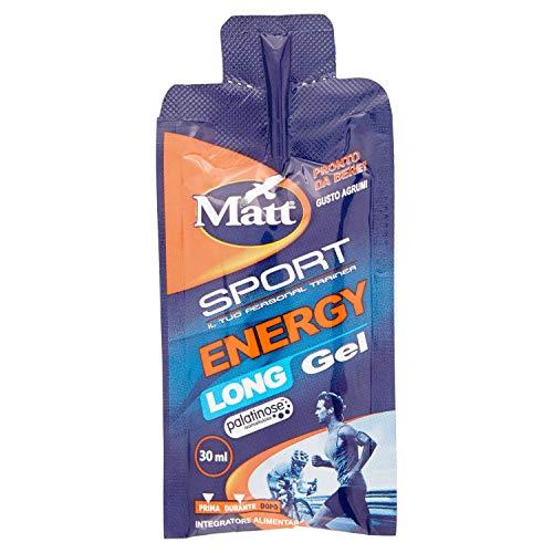 Matt Sport Energy Long Gel - Gel Energetico a Rilascio Graduale a Base di Carboidrati, Pronto da Bere - 30 ml x 30 unità