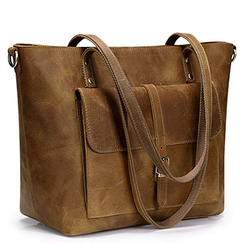 S-ZONE Women Vintage Genuine Leather Tote Bag Large Shoulder Purse Work...