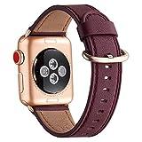 WFEAGL Correa para Correa Apple Watch 42mm 44mm 38mm 40mm, Correa de Repuesto de Cuero Multicolor para iWatch Serie 5/4/3/2/1(38mm 40mm,Vino Tinto/Oro Rosa)