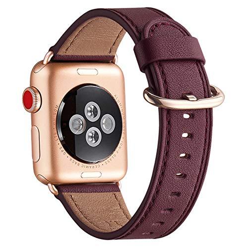 WFEAGL Kompatibel für Watch Armband 38mm 40mm 42mm 44mm, Lederband Ersatzband mit Edelstahl-Verschluss Kompatibel für Serie 6/5/4/3/2/1,SE(42mm 44mm, Wein+Roségold Adapter)