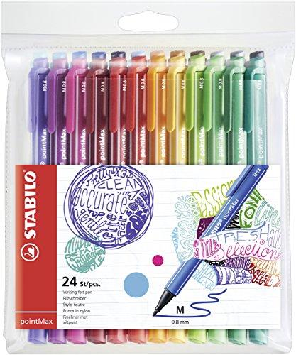 Filzschreiber - STABILO pointMax - 24er Pack - mit 24 verschiedenen Farben